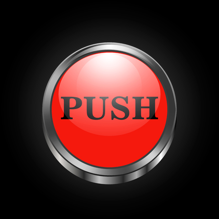 Vector image of red push button on black background