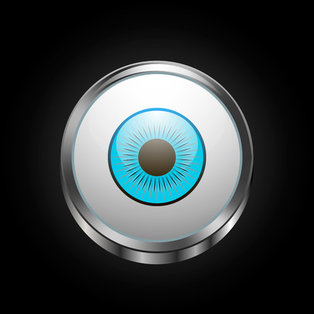 Vector image of a button in the form of a human eye Иллюстрация