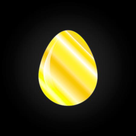 Vector image of golden easter egg on black background