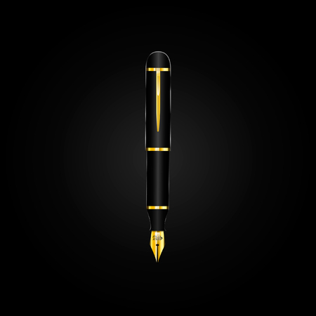 Vector image of a gold fountain pen on a black background Vettoriali