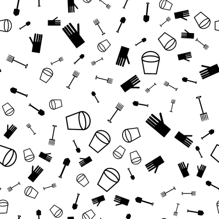 Vector seamless pattern with garden objects. The pattern in black and white Illustration