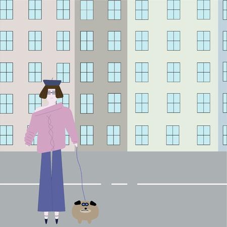 vertor art style girl fashion dog walk Иллюстрация