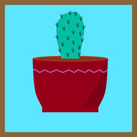 vector art green home cactus blue backgrount