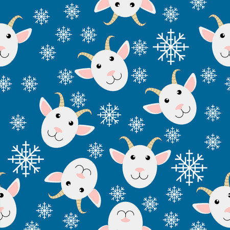 light blue seamless christmas background with goats and snowflake - vector