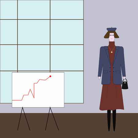 fashionable young woman in a business suit in an office with window and board on which a graph is drawn Illustration