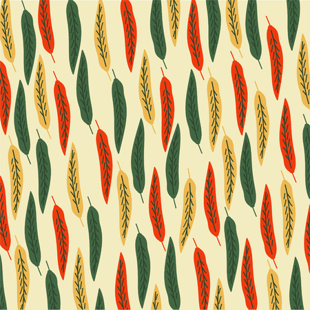 vector art pattern leaves color green yellow red Illustration