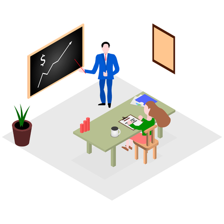 A businessman explains by drawing on a blackboard a chart of the company's development strategy by her employee to a manager sitting at a table with documents.Vector isometry flat illustration  イラスト・ベクター素材