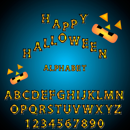 Three Dimensional Halloween Alphabet and Digit Vector on blue black background Illustration