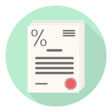 flat loan agreement icon with percent sign and red stamp on green background