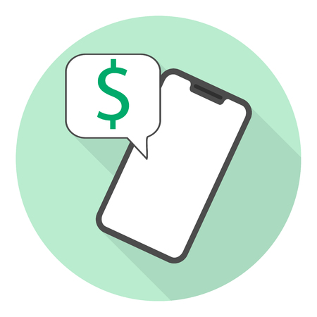 smartphone flat icon with dollar message on green background