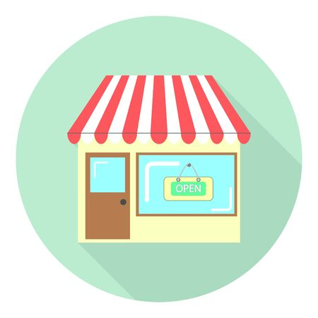 flat icon store with a sign on the window open on green background