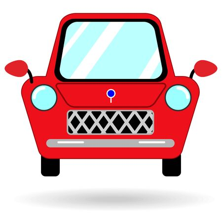flat icon of a red fun car with shadow isolated Иллюстрация