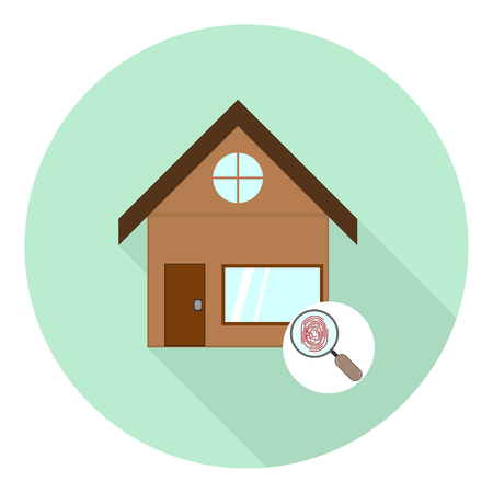 flat icon of house with a magnifying glass icon and fingerprint opening symbol on green background with shadow