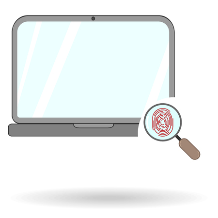 laptop flat icon with magnifying glass and fingerprint opening symbol isolated with shadow