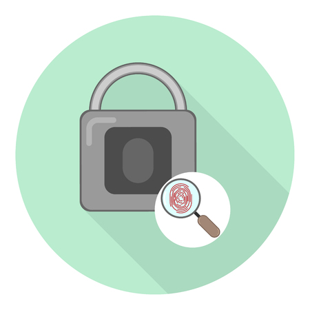 flat lock icon with magnifying glass symbol and fingerprint opening symbol on green background with shadow
