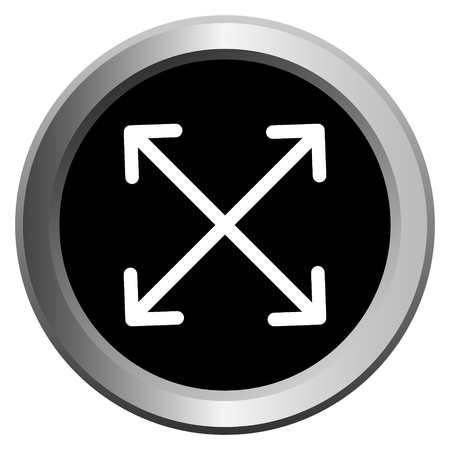 vector icon black with metal edging web buttons with four white arrows in different directions