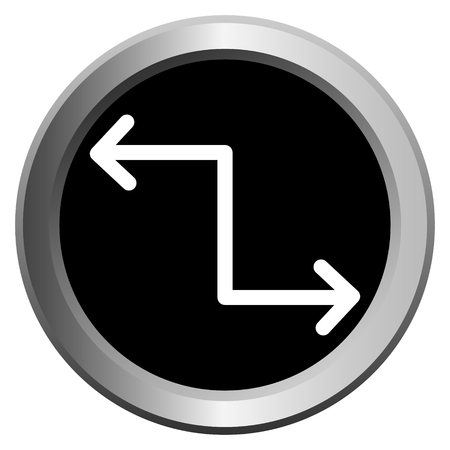 vector icon black with metal edging web buttons with two white arrows in different directions Иллюстрация