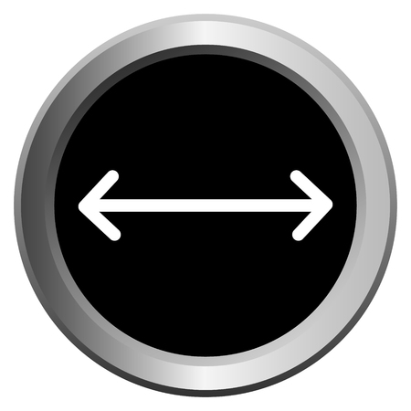 vector icon black with metal edging web buttons with white arrow with opposite direction Иллюстрация