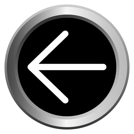 vector icon black with metal edging web buttons with white arrow to the left Фото со стока - 129734075