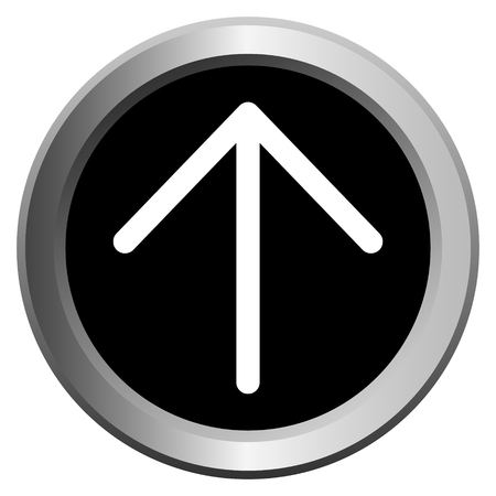 vector icon black with metal edging web buttons with white arrow to the up