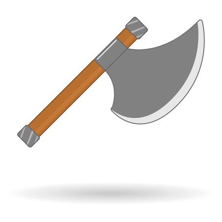 flat icon of ancient metal weapon ax isolated Иллюстрация