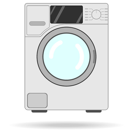 side-loading washing machine flat icon with shadow isolated Иллюстрация