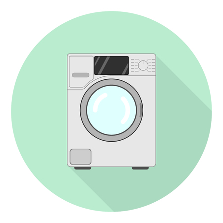 side-loading washing machine flat icon with shadow on green background