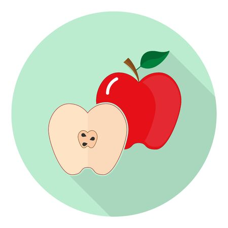 flat icon of red apple and its halves with seeds on green background Иллюстрация