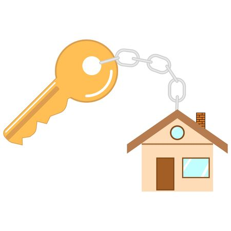 flat key icon with keychain in the form of a house isolated