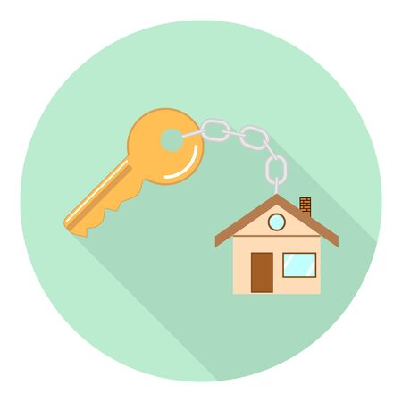 flat key icon with keychain in the form of a house on green background