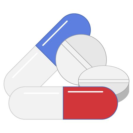 flat icon of various medications in capsules and no isolated