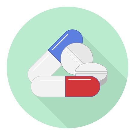 flat icon of various medications in capsules and no on green background