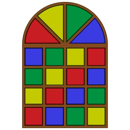 flat icon of an old multi-colored stained glass window isolated