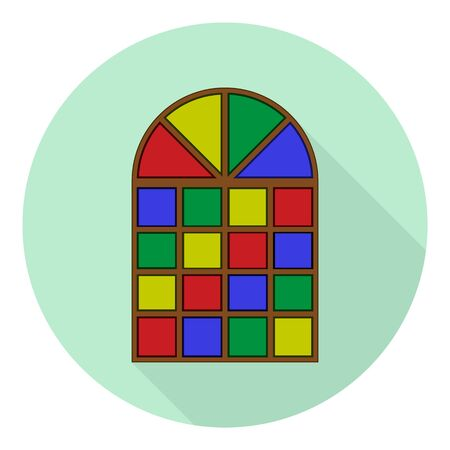 flat icon of an old multi-colored stained glass window on green background