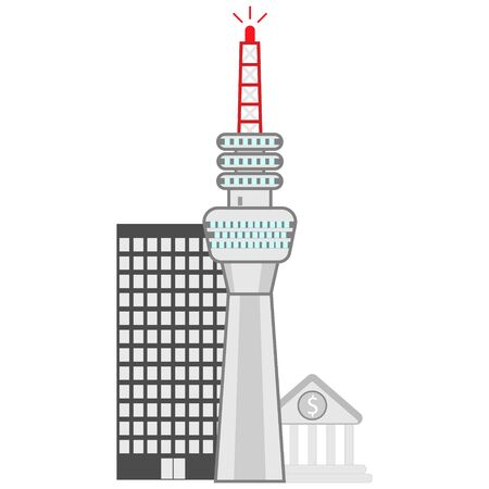 flat tv tower icon on city background isolated