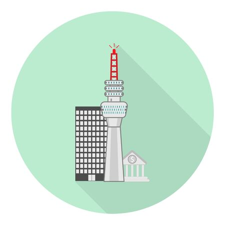 flat tv tower icon on city background on green background Иллюстрация