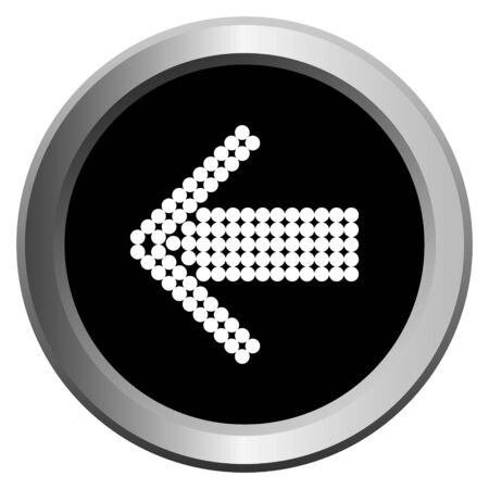 vector image of a round web button with a metal border and an arrow symbol on it