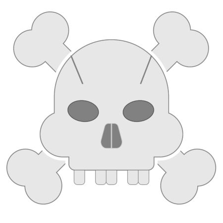 flat icon of a human skull without teeth with two bones isolated