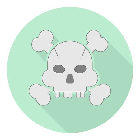 flat icon of a human skull without teeth with two bones on green background