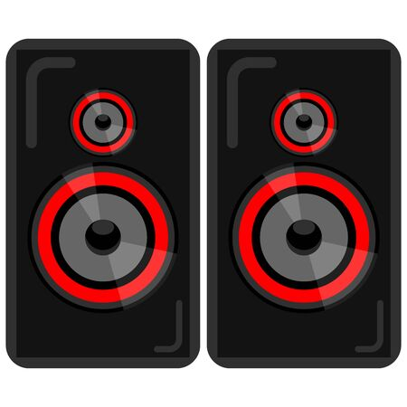 flat icon of music speakers for players, guitars, music tsentor, TVs, etc isolated