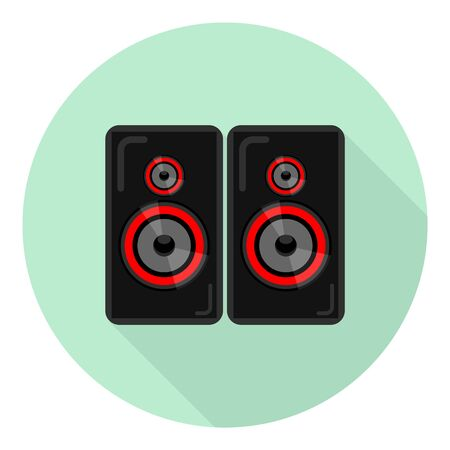 flat icon of music speakers for players, guitars, music tsentor, TVs, etc on green background Иллюстрация