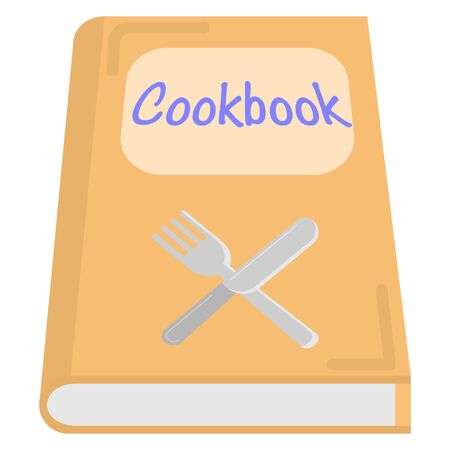 flat icon of a cookbook with a knife and fork symbol on it isolated