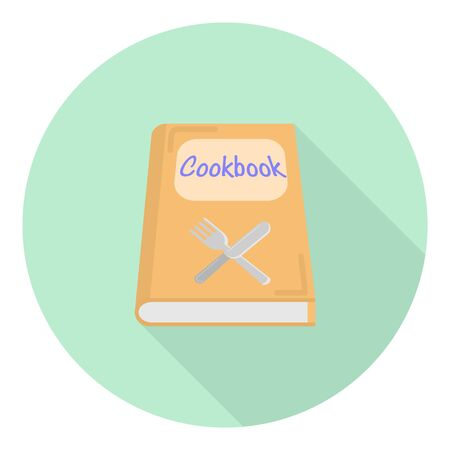 flat icon of a cookbook with a knife and fork symbol on it on green background Stock Illustratie