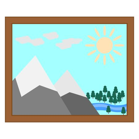 flat icon of landscape picture with the sun the mountains river and forest isolated