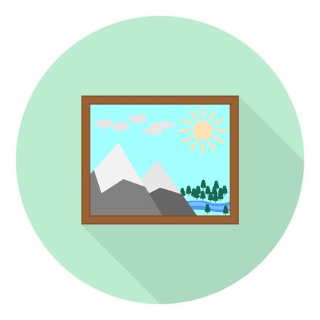 flat icon of landscape picture with the sun the mountains river and forest on green background