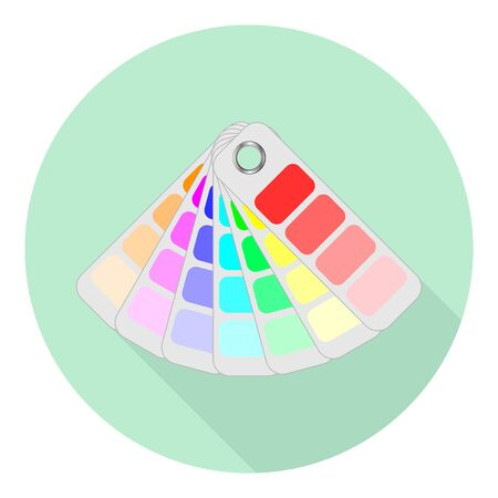 flat icon of color fan for selection of different colors on green background Иллюстрация