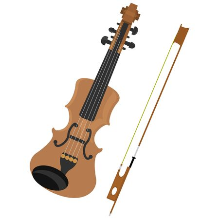 flat icon of old wooden beautiful violin with bow isolated