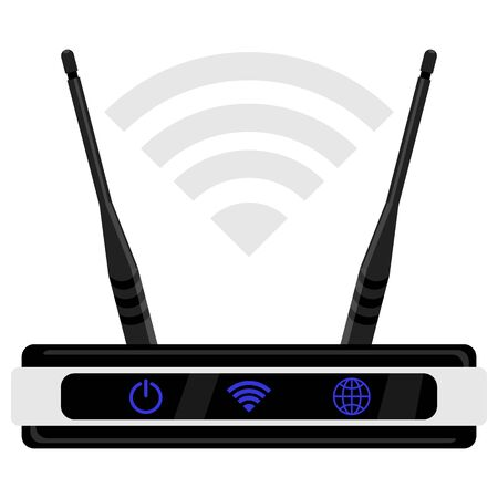 flat icon router with wi fi symbol over it isolated Ilustração