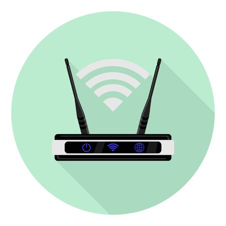 flat icon router with wi fi symbol over it on green background