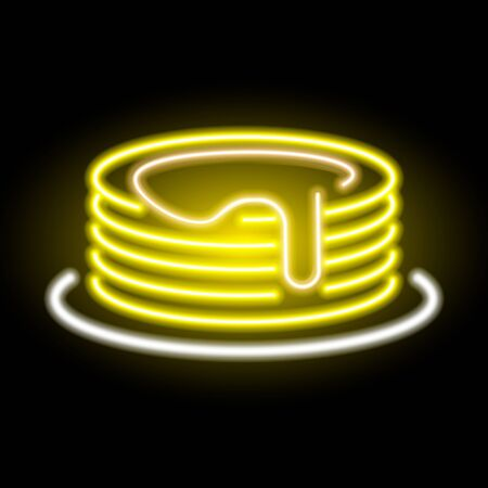 neon pancake icon watered with maple syrup on background